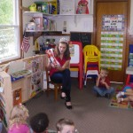 Emily Ramsey volunteering at her old preschool