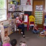 Emily Ramsey volunteering at her old preschool
