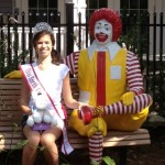 Abigail Satter donating books and animals at the Ronald McDonald House.