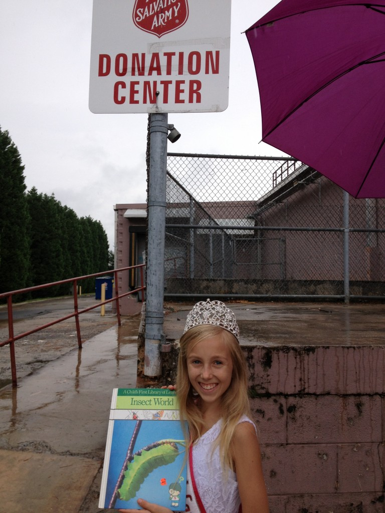 Brandi Alden, North Carolina Pre-Teen, donates books and