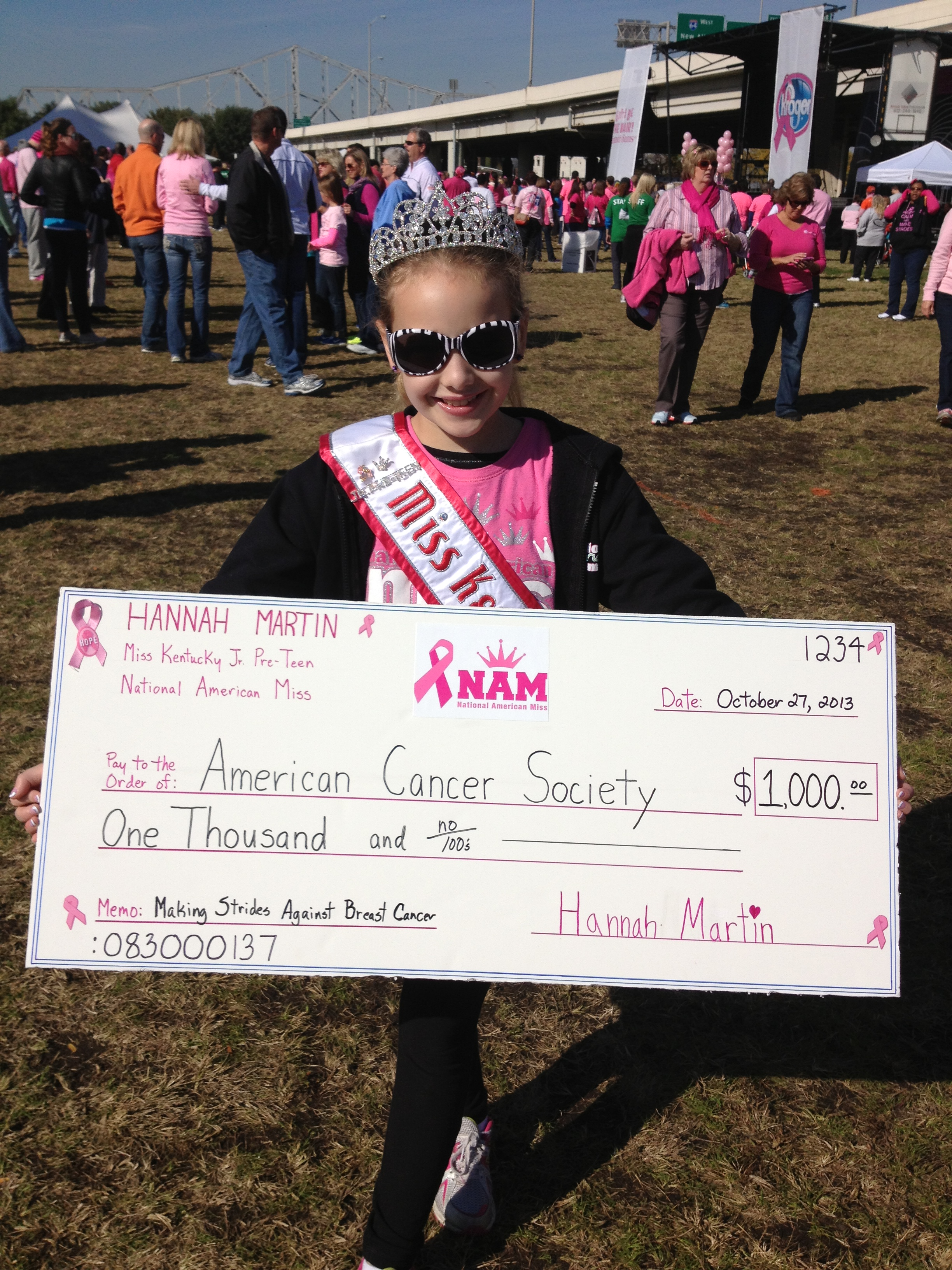 Hannah_Martin_KY_Jr_Preteen_Breast Cancer donation check