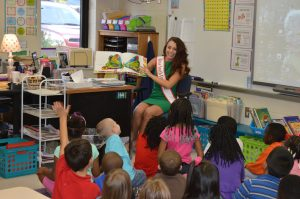 "Story and a Snack at Erwin Elementary School - Reading ""The Very Hungry Caterpillar"" to Mrs. Nowicki's first grade class and sharing a healthy caterpillar snack made with cherry tomatoes and green grapes."